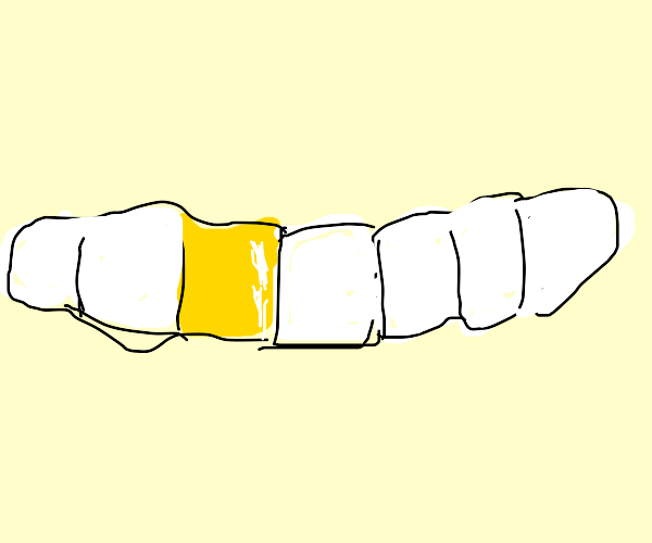 Gold shiny tooth
