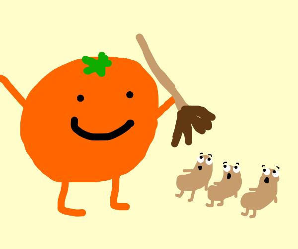 Orange shows beans his broom
