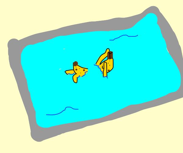 Banana doing a backstroke in the pool