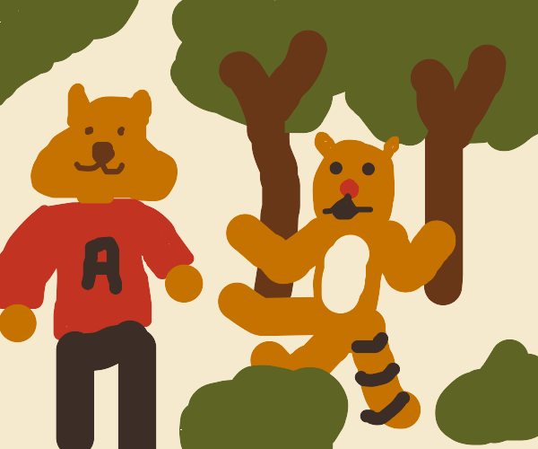 Tigger and Alvin exploring the woods