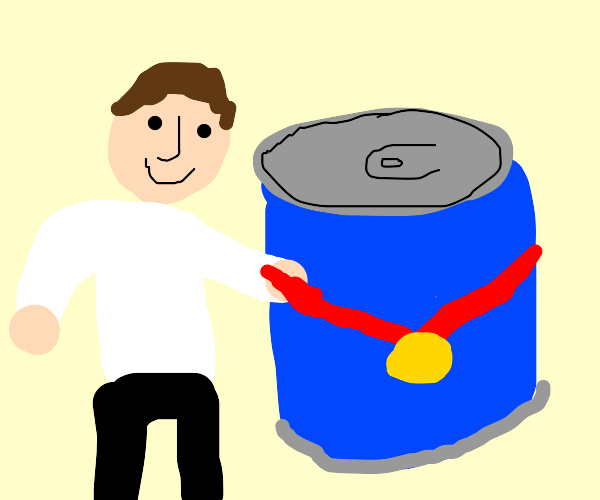 man giving medal to blue can