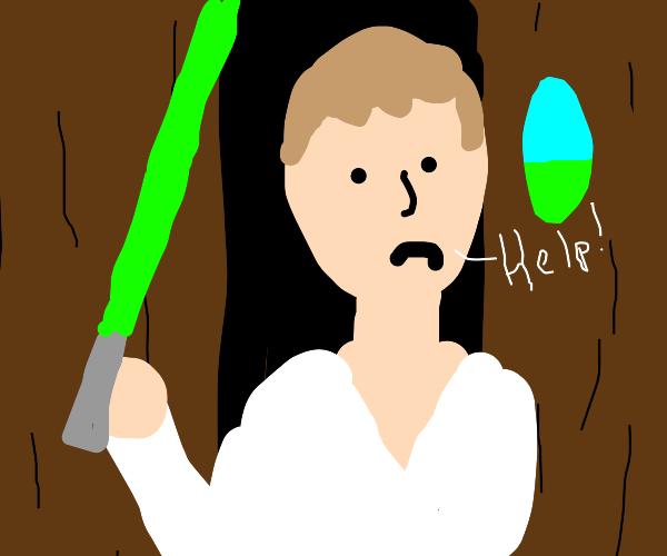 Luke Skywalker trying to escape INSIDE tree