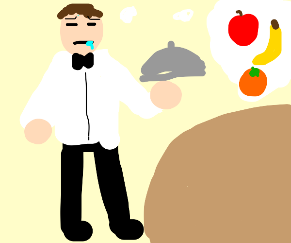 Waiter serving food but yearning for fruit