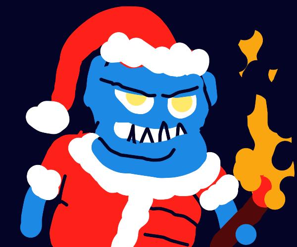 A Troll Wearing A Santa Costume