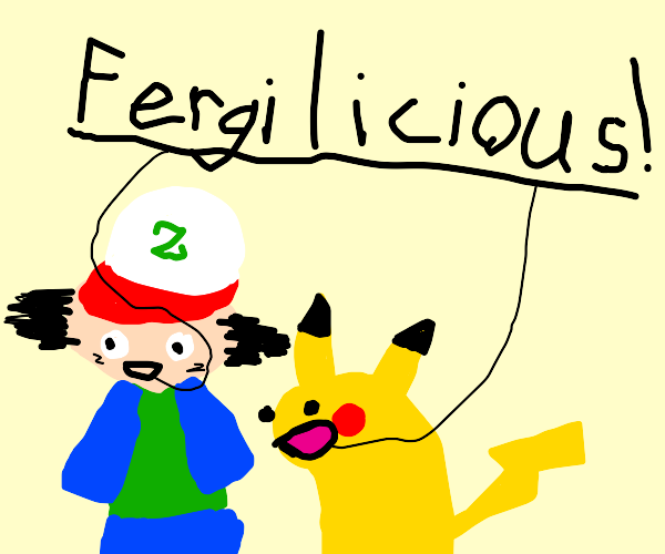 Ash and Pikachu sing fergilicious