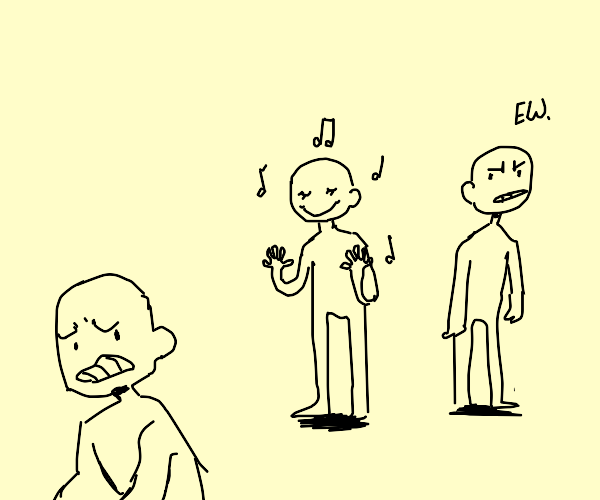 Man listens to terrible music