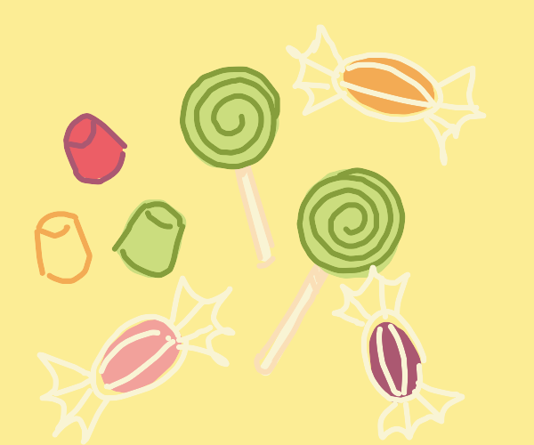 DOTS (candy) green lollipops & wrapped candie