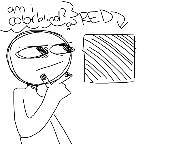 man contemplates the color red