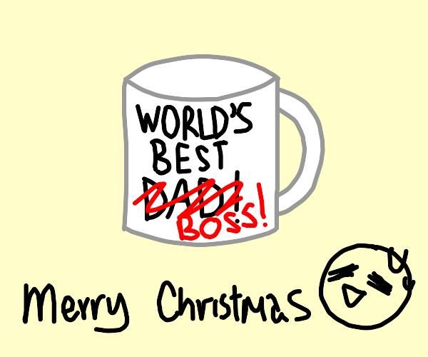 "Improvised ""Worlds best boss"" mug"