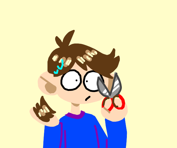 boy cuts off own hair