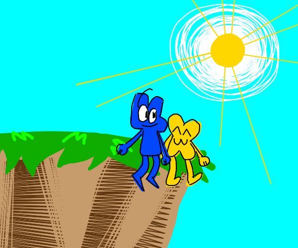 4 and X (BFB) sit beside a cliff