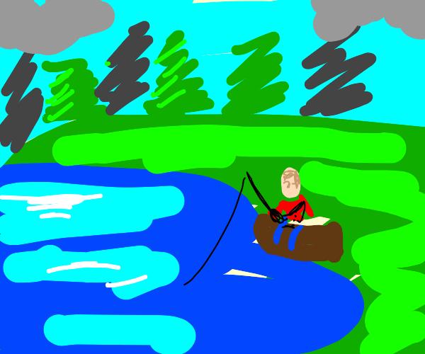 Man sitting on a log near a pond