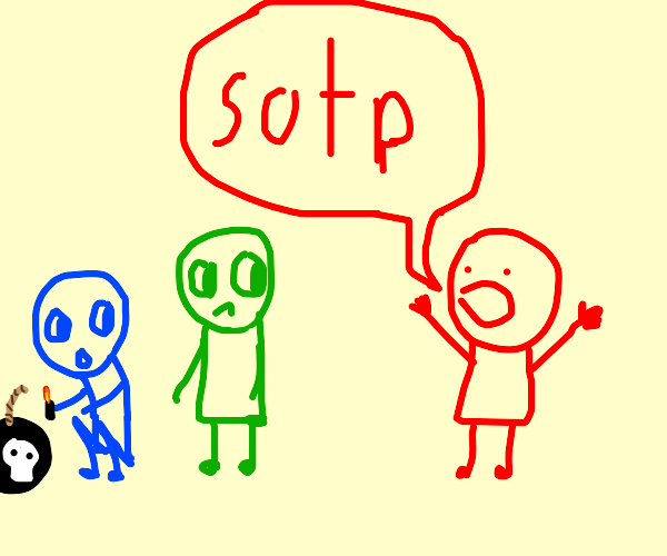 """Red Man """"sotps"""" Green Man and Blue Man"""