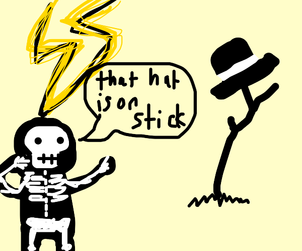 Man shocked that hat is on stick