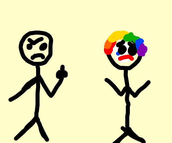 Man flips off clown