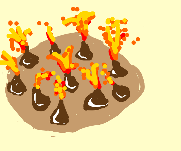 Cookie Planet covered in Volcanoes, erupts