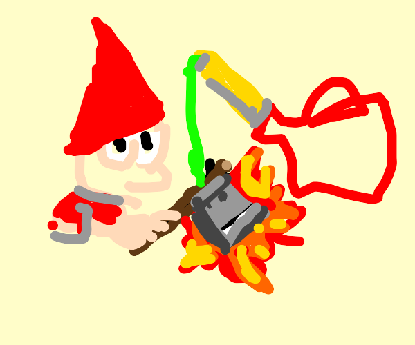 Gnome about to put gasoline with a pickaxe