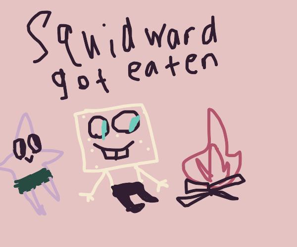 Spongebob, Patrick & Squidward by a campfire