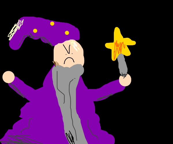 Angry old wizard with a long beard