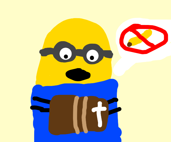 "Minion holds Bible as a hand says ""No banana"""