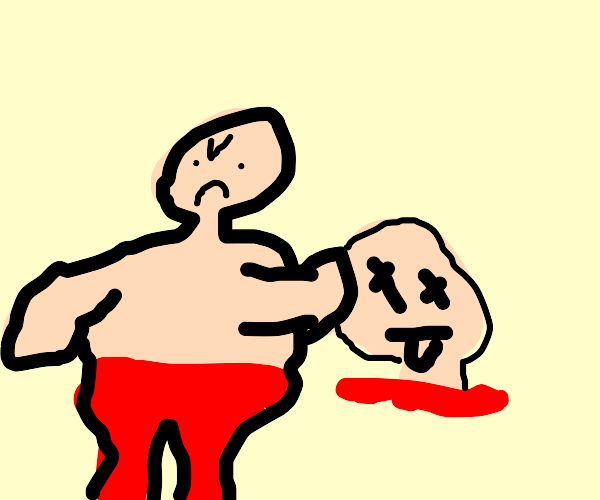Strong man punches severed head