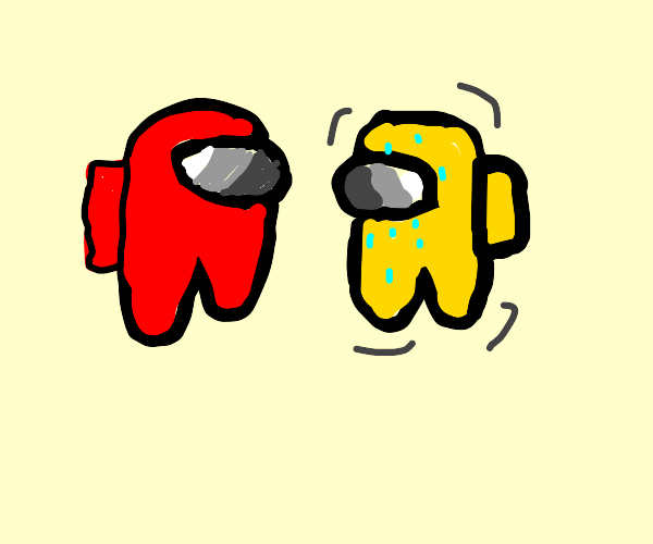 Among Us Red near Yellow