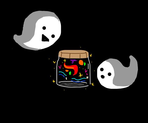 ghosts looking at magical jar