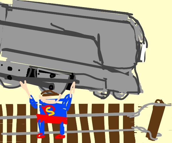 Superman stops a train derailment