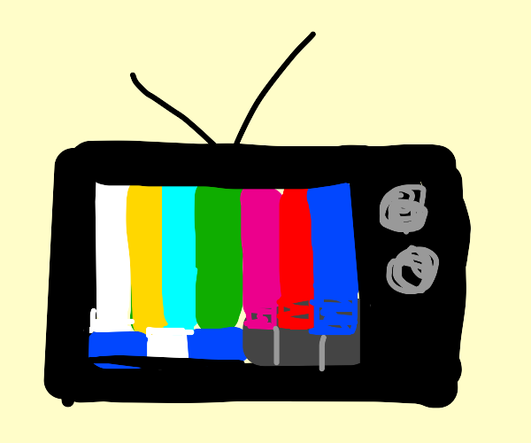 Tv with the color bars on the screen