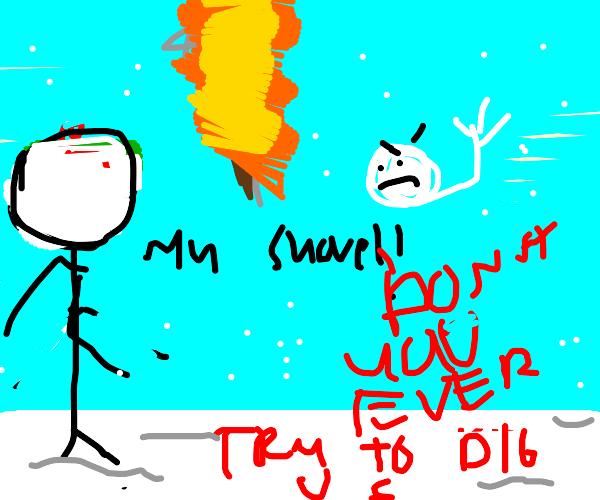evil snowball burns shovel