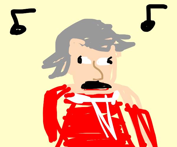 Mozart choking himself