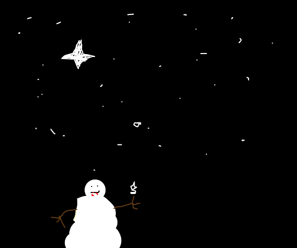 cannibal snowman tries to catch snowflakes