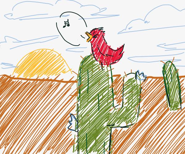 singing bird on a cactus