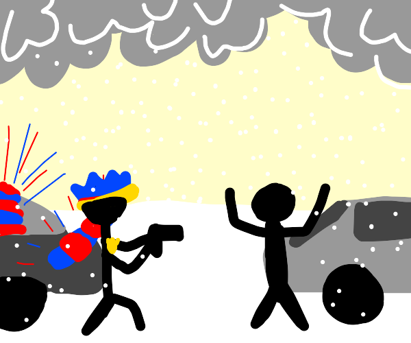 Police person exercises justice in snowstorm