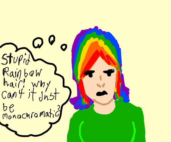Rainbow-haired Girl prefers Monochrome