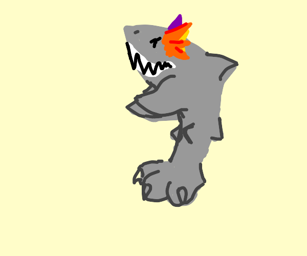 Shark with orange ear, purple ear, and a paw