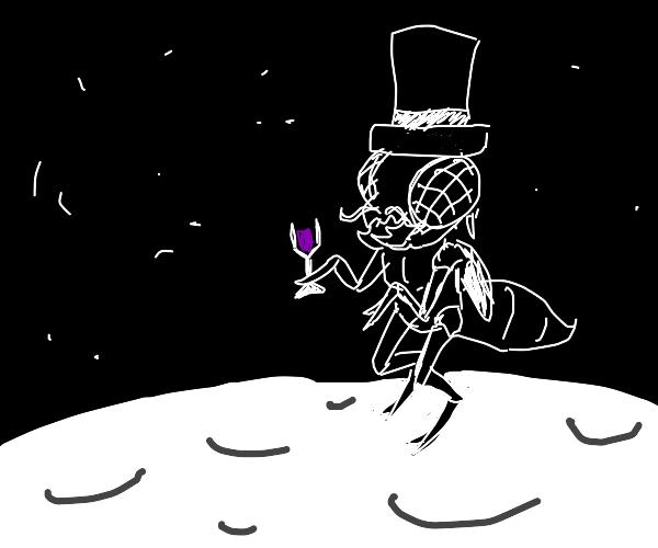 smancy alien fly havin some wine on the moon