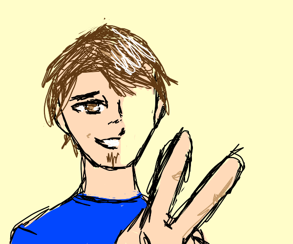 man with half a face does a peace sign