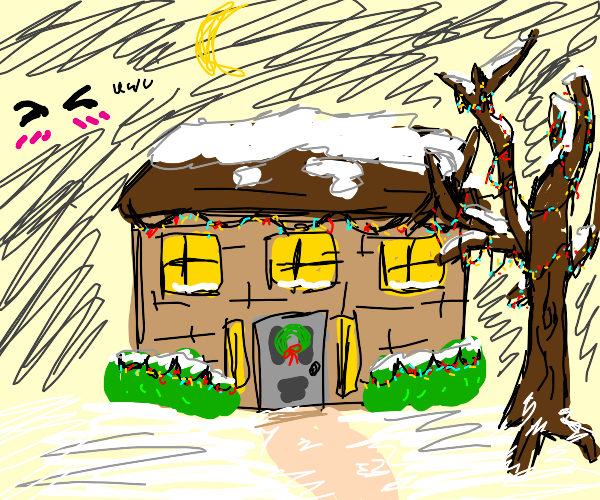 Cute little house with Christmas decorations