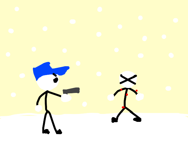 Stickman being shot by police in snow
