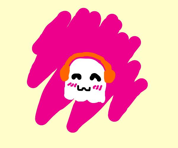 Cute ghost blasting music
