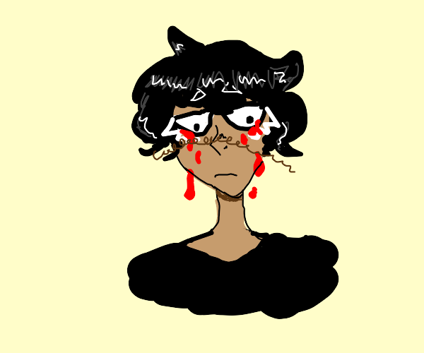 tan boy with fluffy black hair cries blood