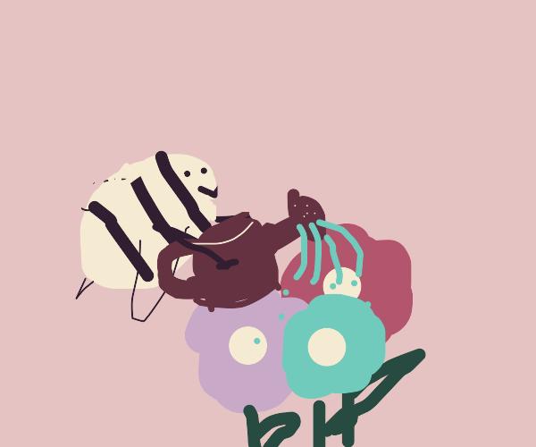 a bee watering plants