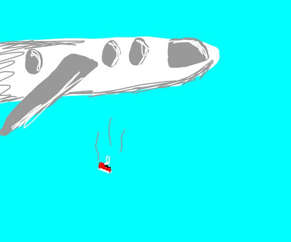 shoe falling from plane