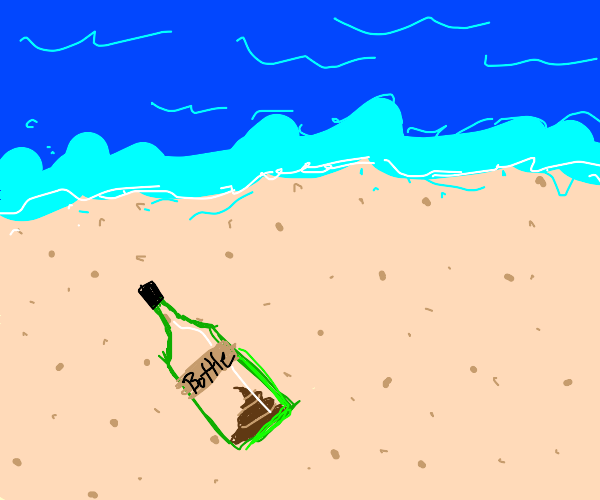 Bottled turd on a beach