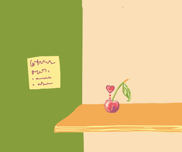 cherry in love with a post-it