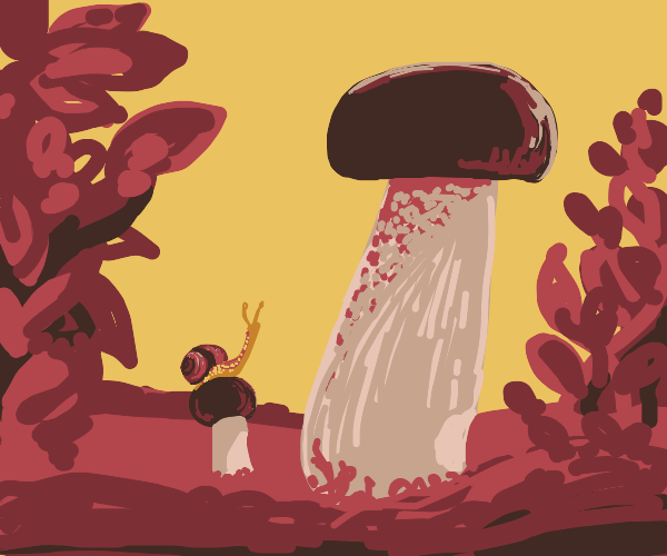 cute snail admires giant mushroom
