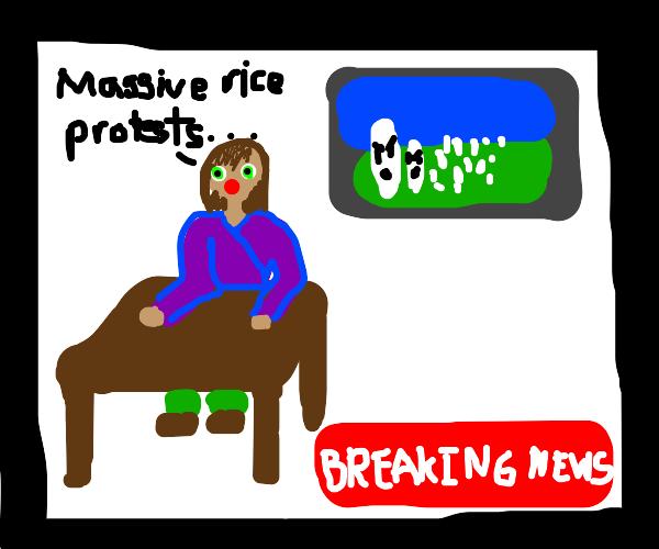 BREAKING NEWS... Massive rice protest!