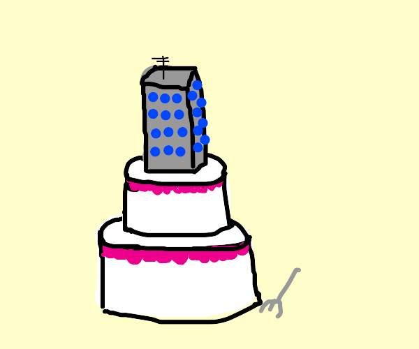 Cake with building on top