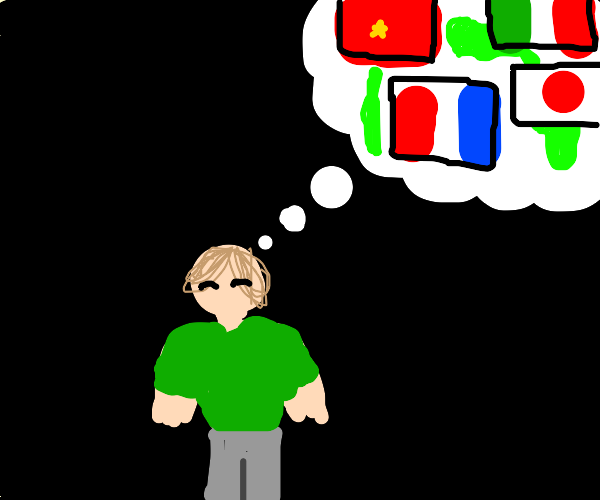 guy thinking of countries and flags